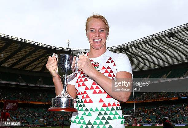 England Women's captain Michaela Staniford poses with the trophy after defeating Australia in the Women's Cup Final during day two of the Marriott...