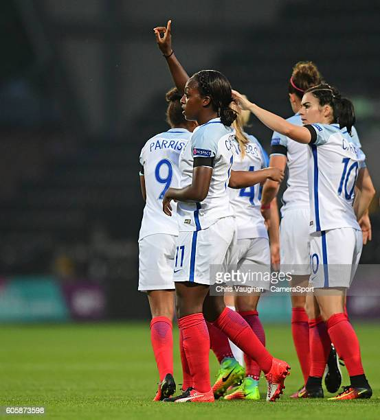 England women's Danielle Carter celebrates scoring the opening goal during the UEFA Womens European Championship Qualifying Group 7 match between...