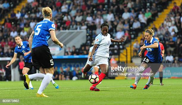 England women's Danielle Carter scores the opening goal during the UEFA Womens European Championship Qualifying Group 7 match between England Women v...