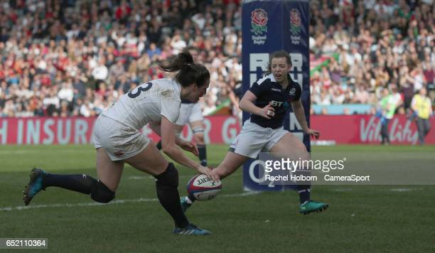 England Women's Emily Scarratt scores a try in the second half during the Women's Six Nations Round 4 match between England Red Roses and Scotland...