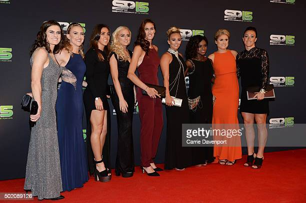 England women's football team with Lucy Bronze on the red carpet before the BBC Sports Personality of the Year award at Odyssey Arena on December 20...