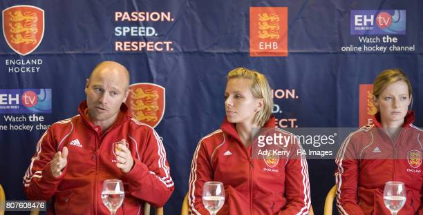 England Women's Head Coach Danny Kerry speak with Kate Walsh and Helen Richardson during the Women's Champions Trophy Media Day at Beeston HC...