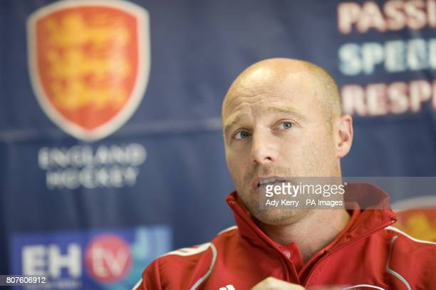 England Women's Head Coach Danny Kerry talks during the Women's Champions Trophy Media Day at Beeston HC Nottingham