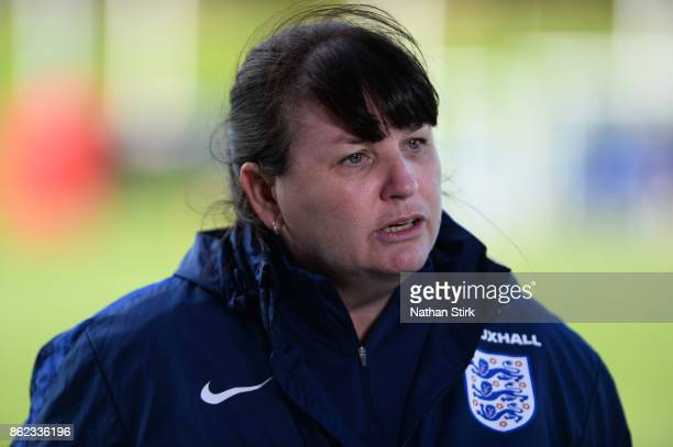 England Women's interim head coach Mo Marley during a training session at St Georges Park on October 17 2017 in BurtonuponTrent England
