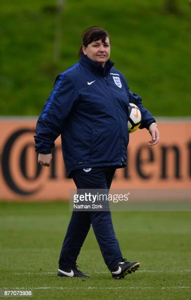 England Women's interim head coach Mo Marley during a training session at St Georges Park on November 21 2017 in BurtonuponTrent England