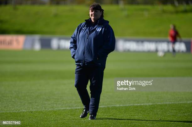 England Women's interim head coach Mo Marley looks on during a training session at St Georges Park on October 17 2017 in BurtonuponTrent England