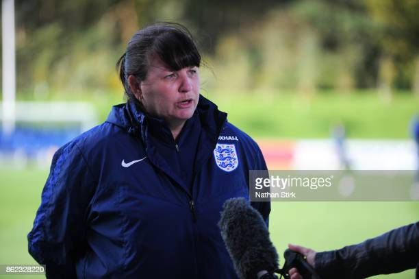 England Women's interim head coach Mo Marley speaks during a press conference at St Georges Park on October 17 2017 in BurtonuponTrent England