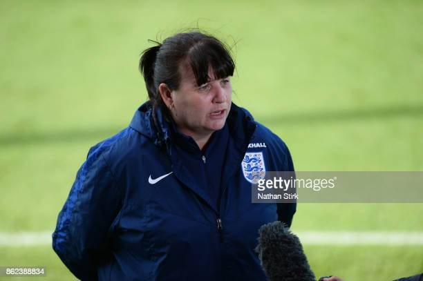 England Women's interim head coach Mo Marley speaks to the press at St Georges Park on October 17 2017 in BurtonuponTrent England