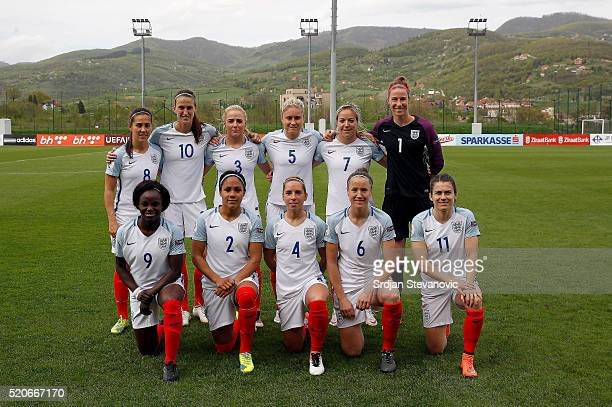 England women's national football team pose for the photo from left Fara Williams Jill Scott Alex Greenwood Steph Houghton Gemma Davison and...