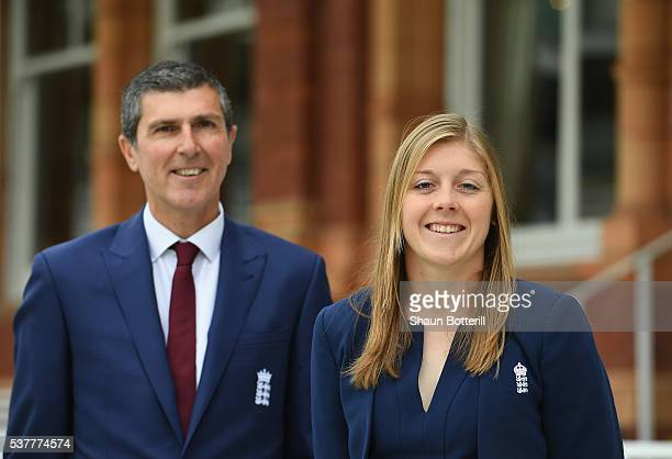 England Women's New Captain Heather Knight with coach Mark Robinson pose for a photograph at Lord's Cricket Ground on June 3 2016 in London England