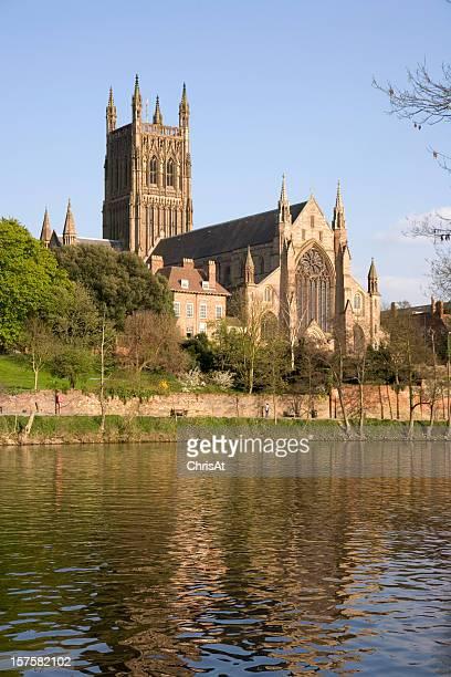 England, Worcestershire, Worcester, River Severn, Cathedral in spring sunshine
