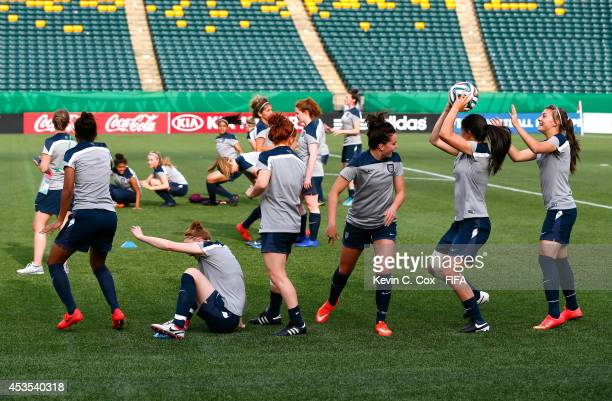 England works out during their FIFA U20 Women's World Cup Canada 2014 Group C training at Commonwealth Stadium on August 12 2014 in Edmonton Canada