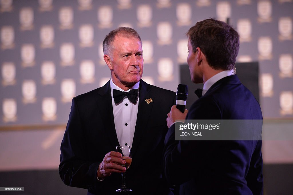 England World Cup team member Geoff Hurst attends The Football Association's 150th Anniversary Gala Dinner at the Grand Connaught Rooms in central London on October 26, 2013. The Duke of Cambridge is president of the Football Association, which was founded 150 years ago on October 26, 1863. The event marks the day when a group of men representing a dozen London and suburban clubs met at the Freemason's Tavern in London, to draw up the rules of a sport that went on to become the most popular in the world.