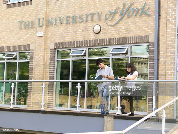 England York University Campus Teenagers reading prospectus