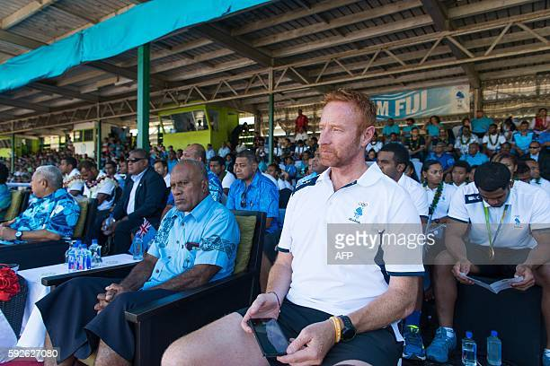 Englandborn coach Ben Ryan attends a welcome party for Fiji's Olympic goldmedalwinning men's sevens rugby team after they arrived home from Rio in...