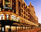 England,London,long exposure shot of Harrods building lit up at night
