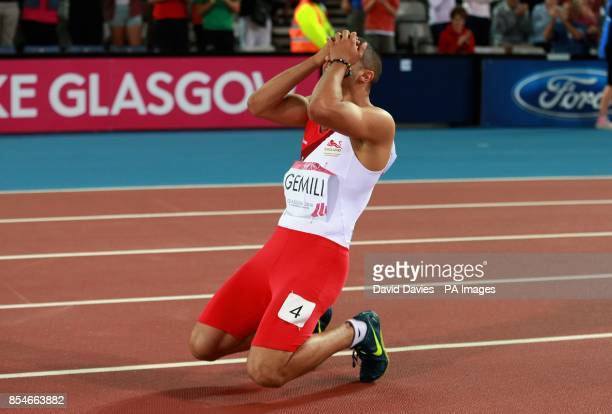 England's Adam Gemili celebrates second place in the Men's 100m Final at Hampden Park during the 2014 Commonwealth Games in Glasgow