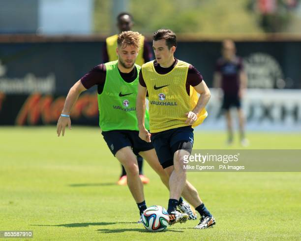 England's Adam Lallana and Leighton Baines during a training session at Barry University Miami USA