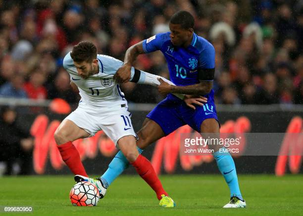 England's Adam Lallana and The Netherlands' Giorginio Wijnaldum battle for the ball during the International Friendly match at Wembley Stadium London