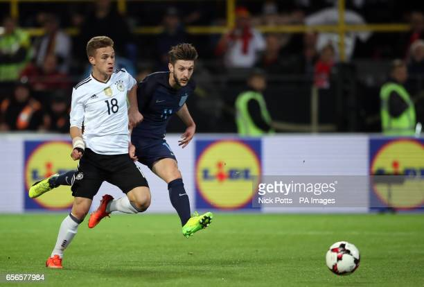 England's Adam Lallana hits the post during the International Friendly match at Signal Iduna Park Dortmund
