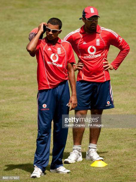 England's Adil Rashid and Ravi Bopara during a nets session at St Marys Sports Ground Port of Spain Trinidad