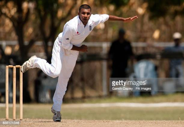 England's Adil Rashid bowls during the tour match at Windward Park Barbados