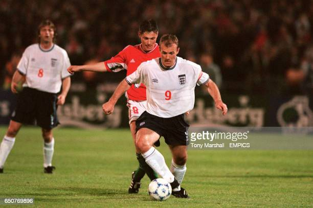 England's Alan Shearer shields the ball from Hungary's Pal Dardai
