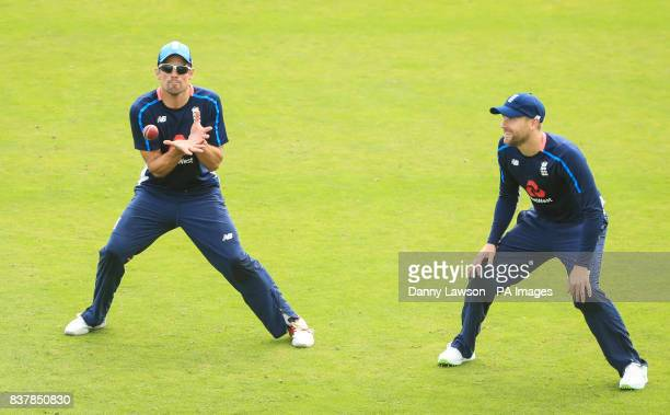 England's Alastair Cook and Dawid Malan during the nets session at Headingley Leeds