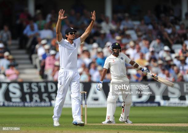 England's Alastair Cook appeals for a caught behind against India's Mohammed Shami during day two of the first Investec test match at Trent Bridge...