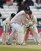 England's Alastair Cook bats on the fifth and final day of the second cricket test match between England and New Zealand at Headingley in Leeds...