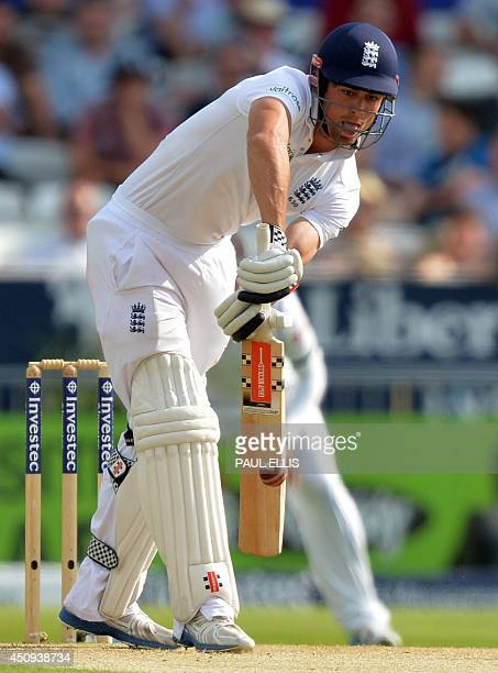 England's Alastair Cook bats on the first day of the second cricket Test match between England and Sri Lanka at Headingley in Leeds northern England...