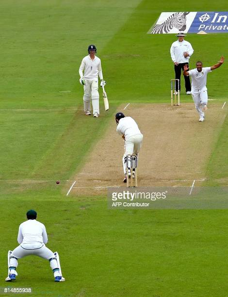 England's Alastair Cook is caught behind off the bowling of South Africa's Vernon Philander for 3 runs during play on the second day of the second...