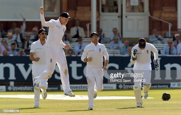 England's Alastair Cook Joe Root and Ian Bell celebrate after Matt Prior took the catch of India's Cheteshwar Pujara