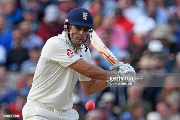 England's Alastair Cook plays a shot during play on day 2 of the first Test cricket match between England and the West Indies at Edgbaston in...