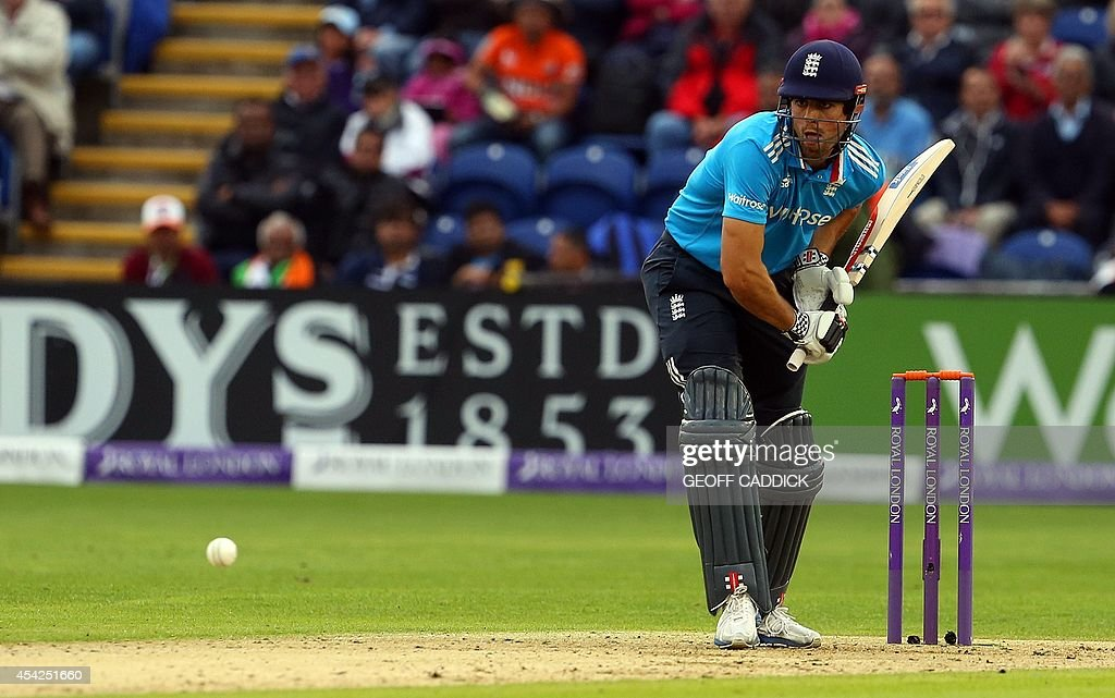 England's Alastair Cook plays a shot during the second one-day international cricket match between England and India at the Glamorgan County Cricket Ground in Cardiff, Wales on August 27, 2014.