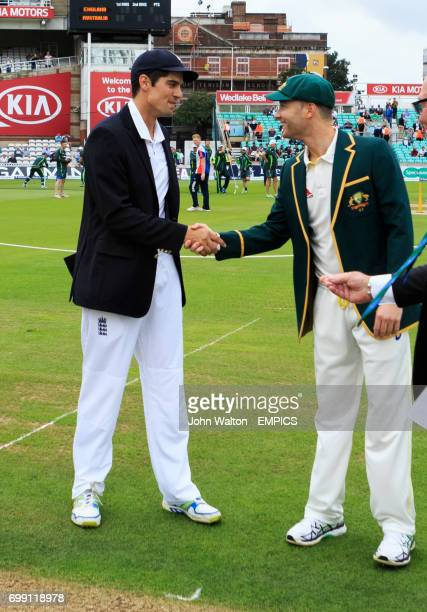 England's Alastair Cook shakes hands with Australia's Michael Clarke before the start of the match