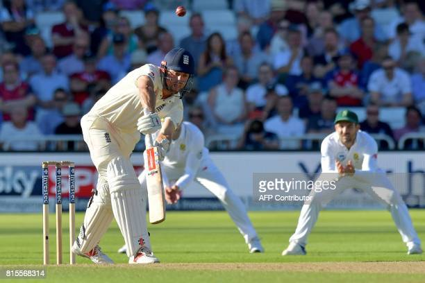 England's Alastair Cook survives an appeal for lbw from South Africa's Vernon Philander during play on the third day of the second Test match between...
