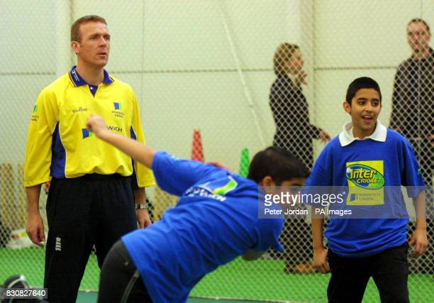 England's Alec Stewart coaching at the Middlesex County Final of the Norwich Union Inter Cricket Indoor Tournament at Lord's Cricket Ground London