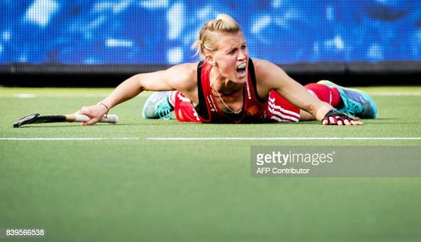 England's Alex Danson reacts during the bronze medal match against Germany at the Women's Rabo EuroHockey Championships match in Amstelveen on August...