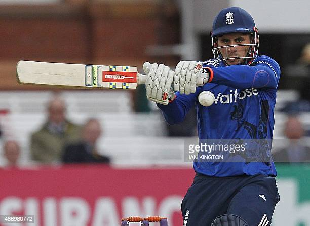Englands Alex Hales plays a shot during the second one day international cricket match between England and Australia at Lord's cricket ground in...