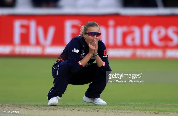 England's Alex Hartley appears dejected during the ICC Women's World Cup Final at Lord's London