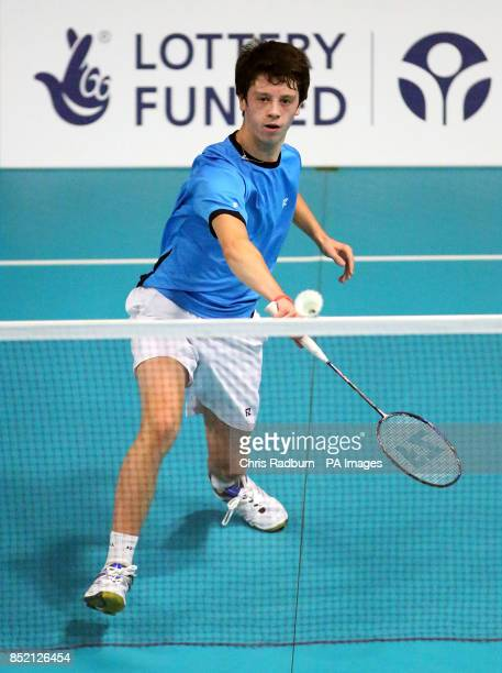 England's Alex Mitchell in the Badminton during day three of the Sainsbury's 2013 School Games at the English Institute of Sport Sheffield PRESS...