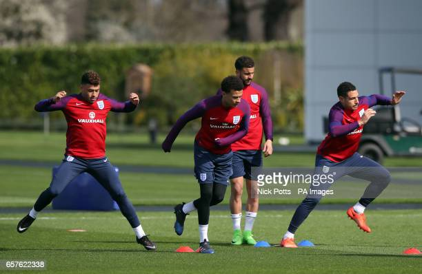 England's Alex OxladeChamberlain Dele Alli Kyle Walker and Jake Livermore during the training session at Enfield Training Ground London