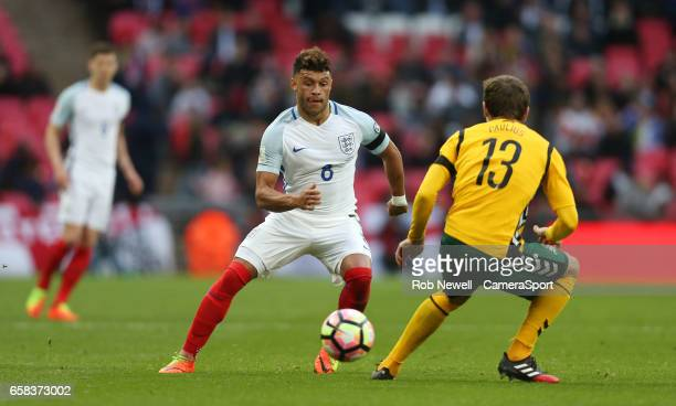 England's Alex OxladeChamberlain during the FIFA 2018 World Cup Qualifier between England and Lithuania at Wembley Stadium on March 26 2017 in London...