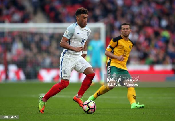 England's Alex OxladeChamberlain in action during the World Cup Qualifying match at Wembley Stadium London