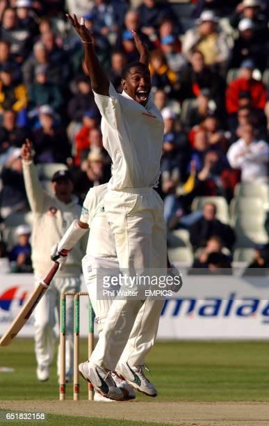 England's Alex Tudor celebrates his LBW of Sri Lanka's Hashan Tillakaratne