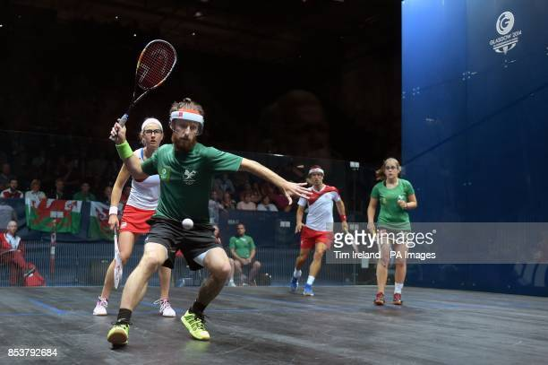England's Alison Waters and Peter Barker against Wales's Peter Creed and Tesni Evans during their mixed doubles pool match at Scotstoun Sports Campus...