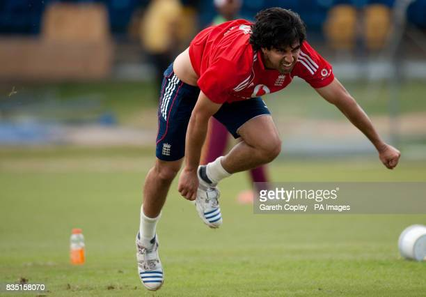 England's Amjad Khan during a nets session at St Marys Sports Ground Port of Spain Trinidad