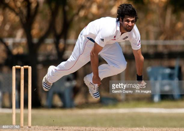 England's Amjad Khan during the tour match at Windward Park Barbados