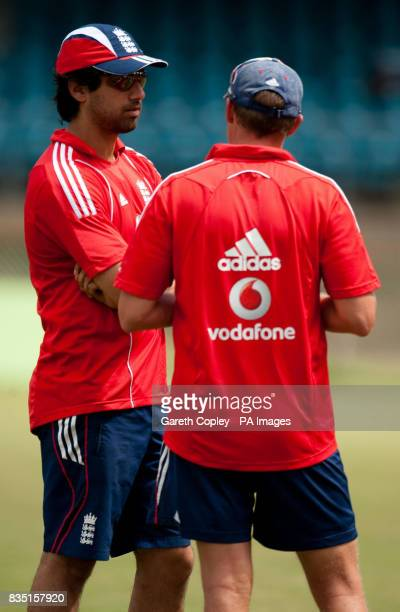 England's Amjad Khan talks to coach Andy Flower during a nets session at St Marys Sports Ground Port of Spain Trinidad
